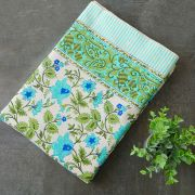 Indian handicraft printed table cover blue and green
