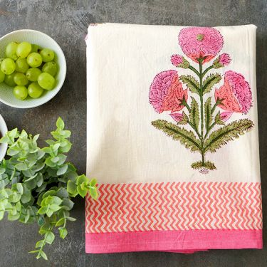 Indian handicraft printed table cover pink color