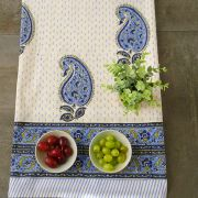 Indian handicraft printed table cover blue and cyan