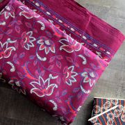 Indian printed bedsheet handicraft maroon and blue