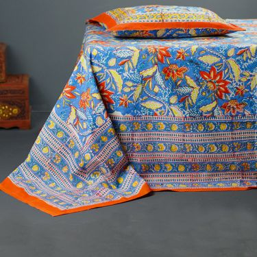 Indian printed bedsheet + pillow Orange and blue