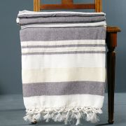 Indian handicraft cotton sofa throw white and brown