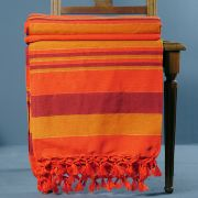 Indian sofa throw cotton orange