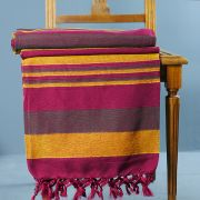 Indian handicraft cotton sofa throw maroon and yellow