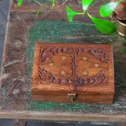 Indian wooden carved jewelry box L15