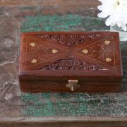 Indian wooden carved jewelry box L16
