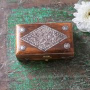 Indian wooden carved jewelry box L13