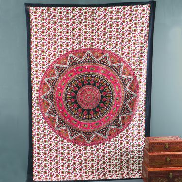Indian cotton wall hanging Mandala red and black