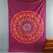Tenture murale indienne Mandala prune et orange