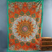 Indian cotton wall hanging Mandala green and orange