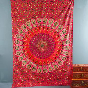 Tenture murale indienne Mandala rouge et orange
