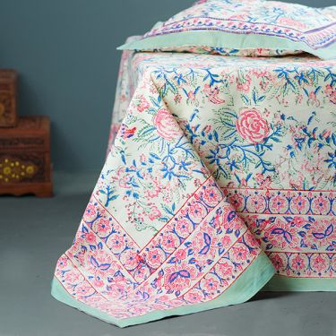 Indian printed bedsheet + pillow Pink and blue
