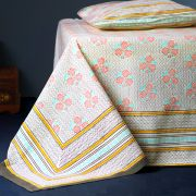 Indian printed bedsheet + pillow Yellow and pink