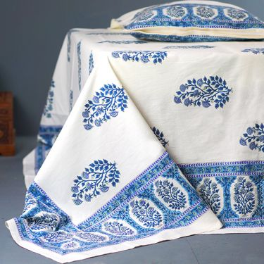 Indian printed bedsheet + pillow White and blue