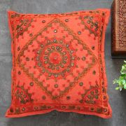 Indian cushion cover embroidered orange L40