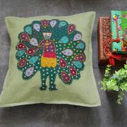 Indian cotton cushion cover Peacock Green L41