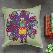 Indian cotton cushion cover Peacock Purple L41