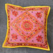 Indian cushion cover embroidered pink L40