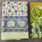 Indian printed cotton table cover green and purple