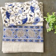 Indian printed cotton table cover blue and beige