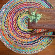 Indian handicraft round carpet colorful