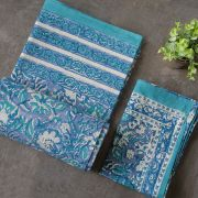 Indian printed bedsheet + pillow Blue and green