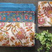 Indian printed bedsheet + pillow Blue and beige