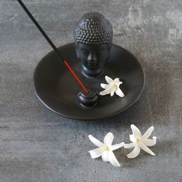 Incense stick stand Black Buddha head