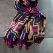 Nepalese woolen shawl traditional beige and pink