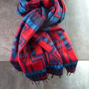 Nepalese woolen shawl traditional red and blue