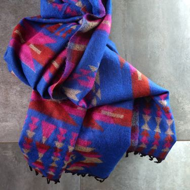 Nepalese woolen shawl traditional blue and pink