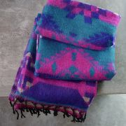 Nepalese woolen shawl traditional purple and pink