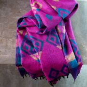 Nepalese woolen shawl traditional pink and blue