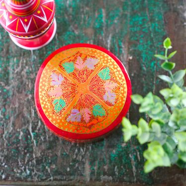 Coasters Indian paper mache round red x6