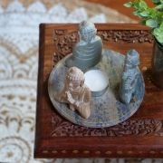 Indian soapstone candle stand 3 Buddhas