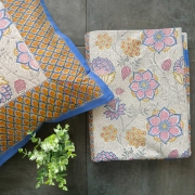 Indian printed bedsheet + pillow Blue and yellow