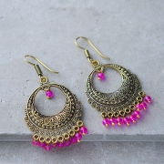 Indian earrings golden Rajasthani pink color