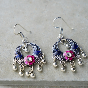 Indian earrings flower pink and blue colors
