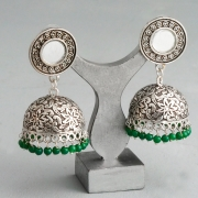 Indian long metal earrings Jhumki green