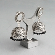 Indian long metal earrings Jhumki black