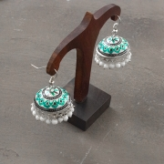 Indian handicraft metal earrings Jhumka white