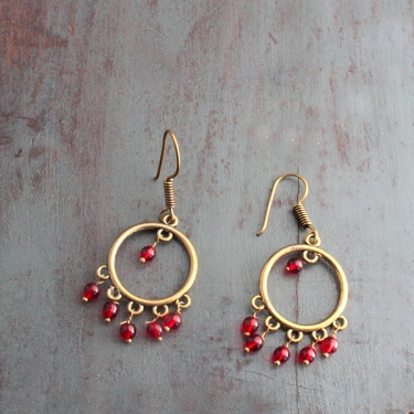 Indian traditional earrings gold and red colors