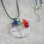 Tree of life necklace with 7 chakra stones
