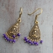 Indian ethnic earrings gold and purple colors