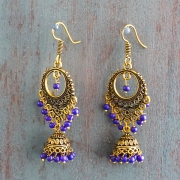 Indian earrings gold and purple Jhumki jewel