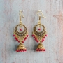 Indian earrings gold and red Jhumki jewel