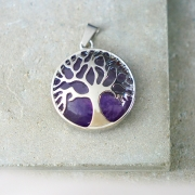 Tree of life pendant with amethyst and metal