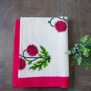 Indian printed table cover white and red