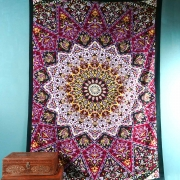 Indian cotton wall hanging Mandala black red and purple