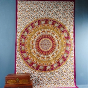 Indian cotton wall hanging Mandala maroon and orange
